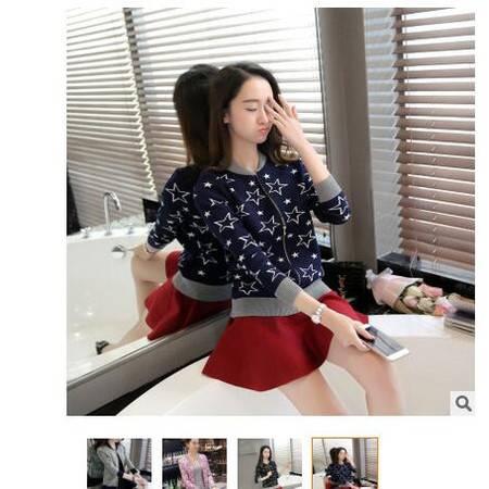 2016秋装新款女装提花五角星拼色女式拉链针织开衫外套披肩毛衣女粉黛