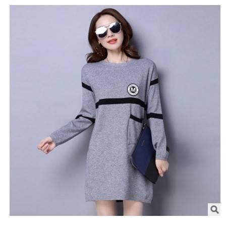 时尚纯色圆领套头毛衣中长款百搭针织衫女秋冬季女装新款韩版洪合