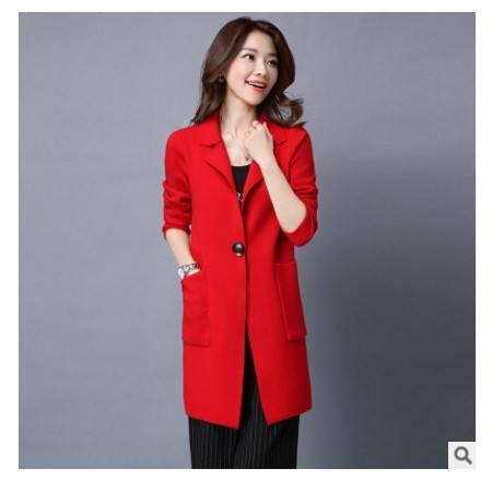 开衫韩版西装领宽松女式毛衣外套秋季新款中长款针织衫女洪合包邮