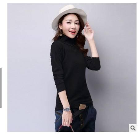 长袖套头加厚修身显瘦针织衫秋冬新款韩版高领毛衣打底衫女洪合