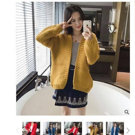 2016秋装新款女装粗针宽松长袖女式针织开衫外套披肩毛衣女粉黛