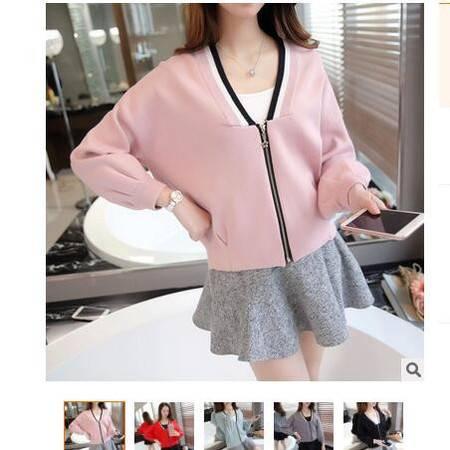2016秋装新款女装V领条纹修身拉链女式针织开衫外套女毛衣粉黛