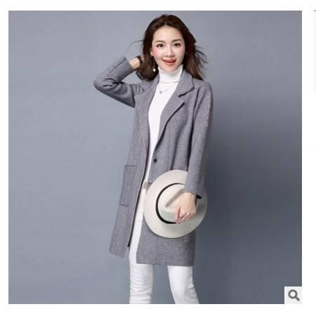长袖韩版字母宽松针织衫潮秋装新款女装中长款毛衣开衫外套洪合包邮
