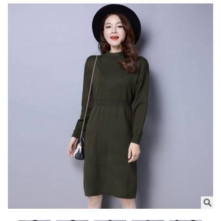 女士韩版中长款套头百搭针织衫 打底连衣裙秋冬新款毛衣洪合包邮