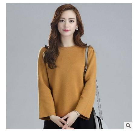 时尚短款百搭宽松显瘦毛衣潮 秋季新款韩版圆领套头针织衫女洪合