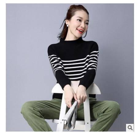 韩版圆领套头条纹修身女针织毛衣女秋冬新款女式针织衫洪合包邮