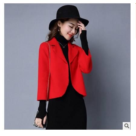 韩版休闲宽松纯色女式毛衣外套秋季新款短款针织衫女开衫洪合包邮