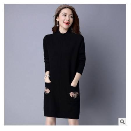 韩版修身套头针织打底衫长袖连衣秋冬新款女装中长款毛衣女洪合包邮