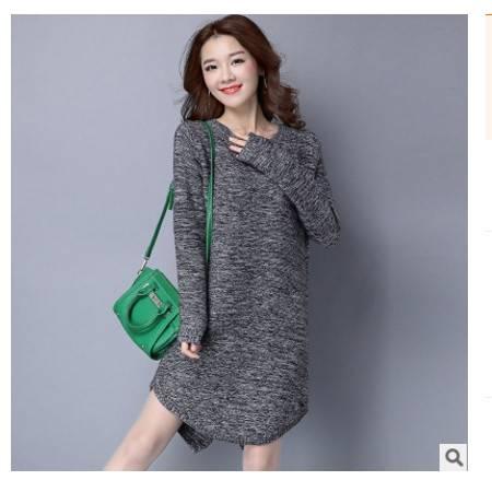 纯色宽松中长款半v领女士毛衣打底衫女装新款洪合包邮