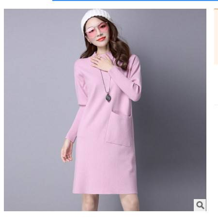 宽松中长款针织衫打底衫女秋冬新款女装圆领套头毛衣女洪合包邮