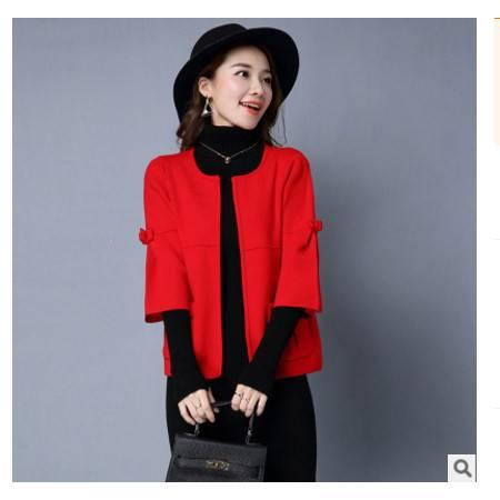 韩国秋冬新款女装毛衣女针织衫纯色时尚圆领修身开衫洪合包邮