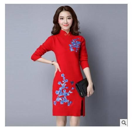 领女士打底中长款毛衣女套头连衣裙秋冬季中国风针织衫民族风旗袍洪合包邮