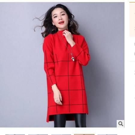 连衣裙宽松中长款针织衫打底秋冬新款女装圆领套头毛衣女洪合包邮