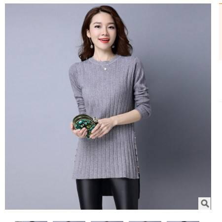 韩版修身中长款毛衫女秋装薄款秋季新款开叉系带套头针织衫女洪合包邮