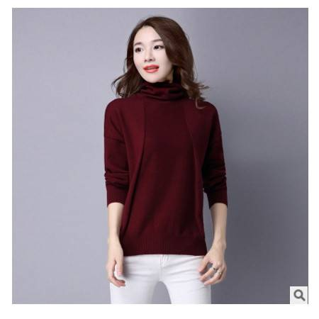 女式宽松短款高领毛衣女秋冬装新款韩版针织毛衣洪合包邮