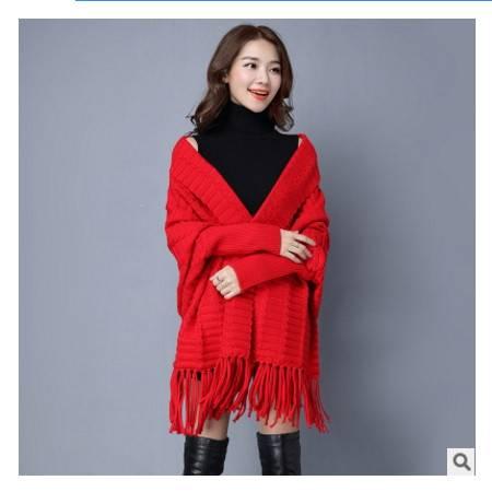 年秋季新款女装中长款毛衣蝙蝠袖披肩外套女潮流苏针织衫女开衫洪合包邮