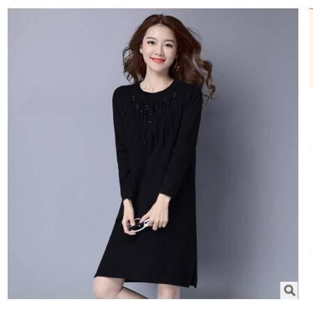 套头韩版中长款长袖女装流苏毛衣女士秋装新款圆领针织衫洪合包邮