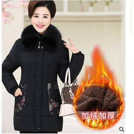 中老年女装冬装棉服中年妇女防寒服妈妈装中长款加绒棉衣艾丽莎