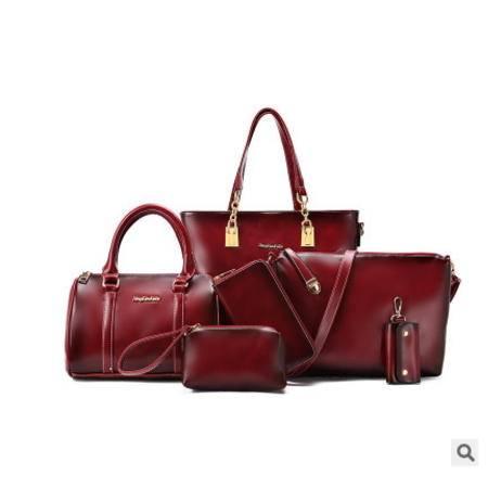 手提单肩斜跨手拿潮流百搭女包欧美时尚新款六件套子母包 征途包邮
