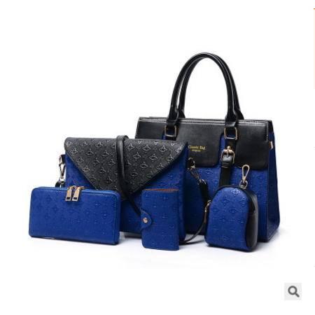 手提单肩斜跨潮流女包欧美时尚新款菱格五件套子母包征途包邮