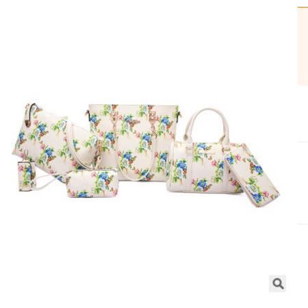 手提单肩斜跨百搭女包包新款欧美时尚印花六件套子母包征途包邮