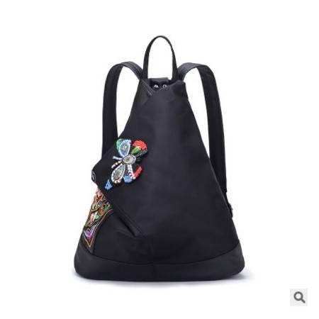 手提单肩大容量女包新款民族风刺绣串珠蝴蝶双肩包征途