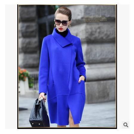 秋冬季新款修身长款羊毛呢外套欧美品牌女装羊毛双面呢大衣梦鼎包邮