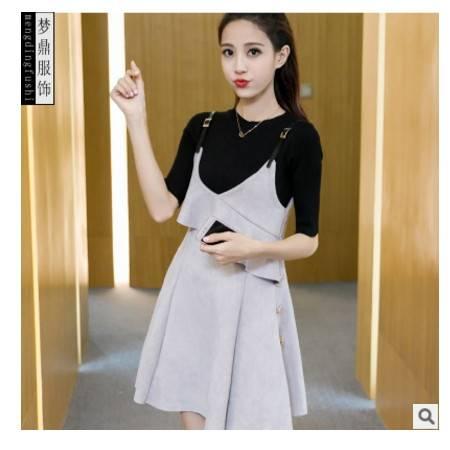 修身气质套装裙 秋季新款韩版纯色针织吊带时尚品牌连衣裙女 梦鼎包邮