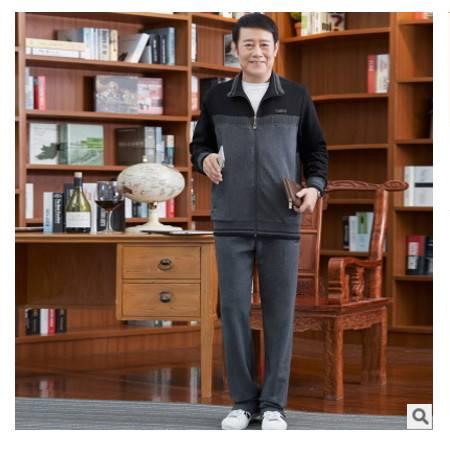 男潮流拼色休闲运动套装冬季新款纯棉户外三件套老年运动服 晋龙包邮