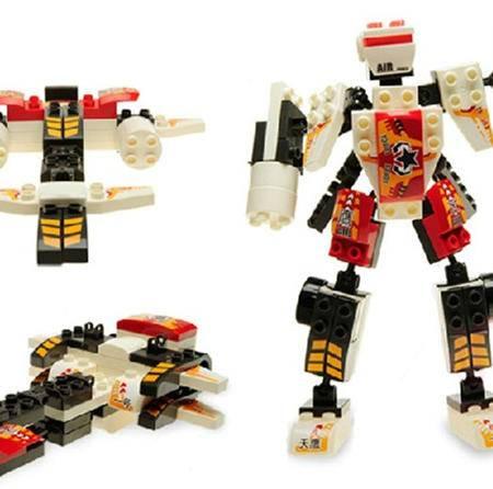 正品 积木类玩具红色警戒3岁以上男培培乐儿童变形积木三合一玩具