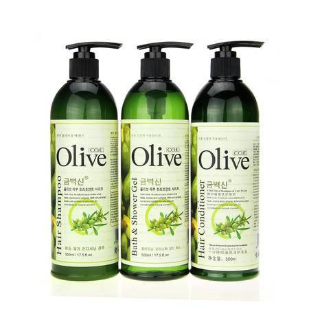 韩伊Olive橄榄洗发露护发素套装500ml*3 洗发水沐浴露护发素洗头水