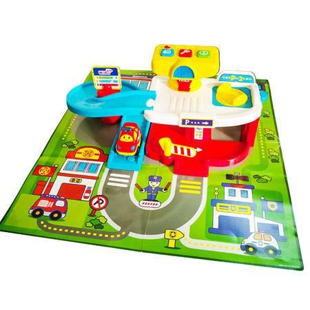 英纷玩具婴儿幼儿童宝宝早教益智轨道音乐组合模型中心停车场1251