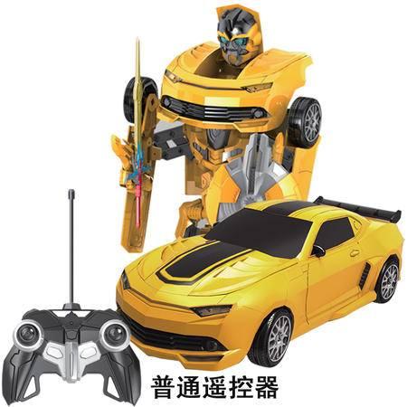 美致 儿童遥控一键变形机器人 1:14超大充电遥控汽车 跳舞音乐玩具 大黄蜂 普通遥控器