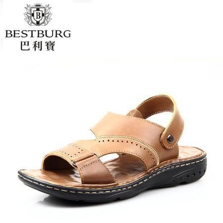 巴利宝正品夏季休闲男士沙滩鞋男凉鞋真皮透气鞋韩版凉拖鞋25130503-1