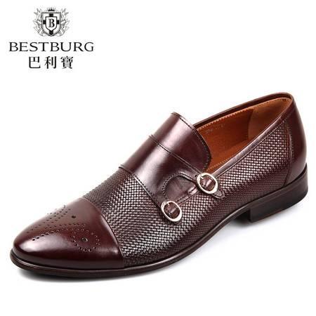 巴利宝新品商务正装男鞋英伦雕花尖头皮鞋编织透气休闲套脚男鞋子