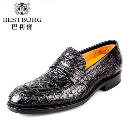 巴利宝 正品鳄鱼纹真皮头层固特异高档鞋英伦商务正装皮鞋男士鞋