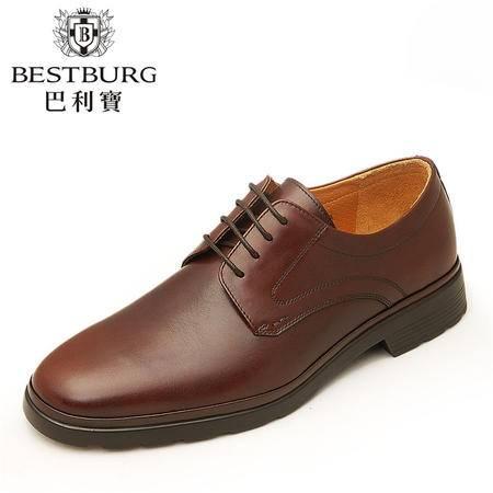 巴利宝新款商务正装皮鞋 真皮正品透气男鞋潮流圆头低帮单鞋