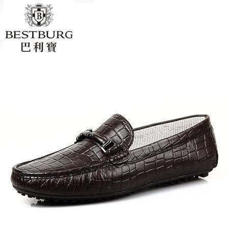 巴利宝春夏休闲鞋韩版豆豆鞋高端时尚潮流男鞋真皮正品男士皮鞋
