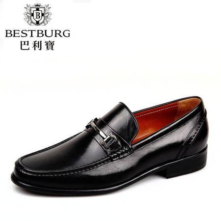 巴利宝2014新款英伦绅士皮鞋套脚正品头层袋鼠牛皮鞋时尚商务正装男鞋