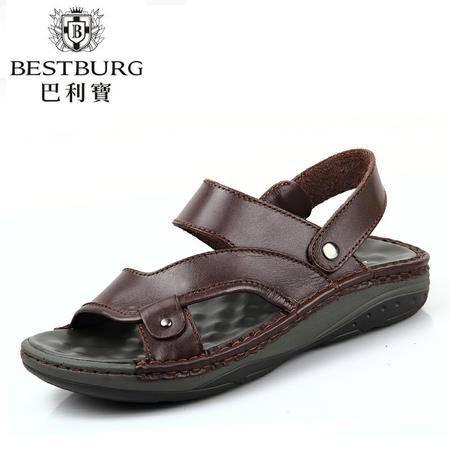 巴利宝正品夏休闲男士沙滩鞋男凉鞋真皮透气鞋男韩版凉拖鞋