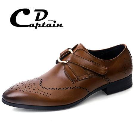 德雷克船长品牌正品 套脚英伦复古雕花透气商务正装真牛皮皮鞋60062