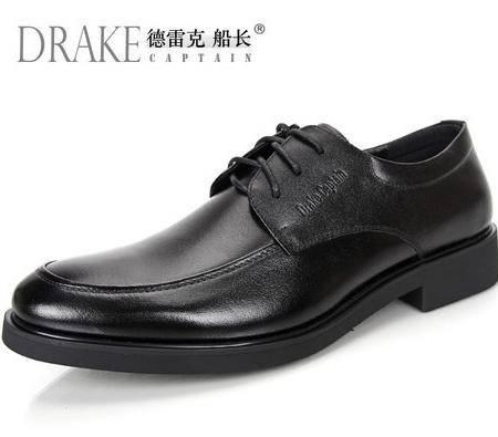 德雷克船长品牌正品 男士新款系带稳重素面商务正装真皮皮鞋58B02