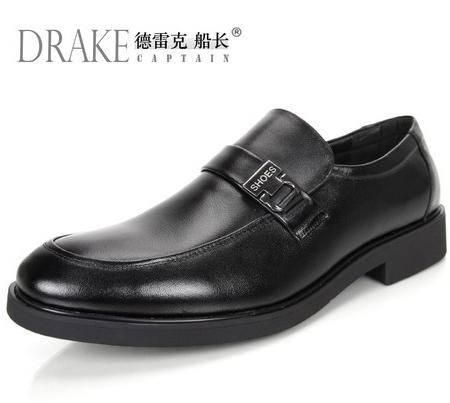 德雷克船长品牌正品 男士套脚稳重素面透气商务正装真皮皮鞋58B01