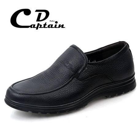 德雷克船长品牌正品 男士套脚懒人成熟稳重舒适软皮休闲真皮皮鞋1281