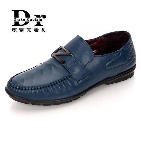 德雷克船长品牌正品 男士套脚菱格英伦软底软皮舒适休闲牛皮皮鞋8865