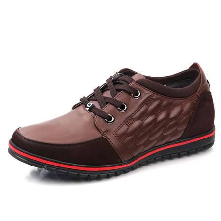 德雷克船长品牌正品 新款系带(内增高)椭圆纹个性红边男士休闲皮鞋7126
