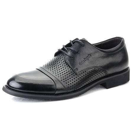 德雷克船长品牌正品 男士新款夏季系带镂空透气正装商务皮鞋101319