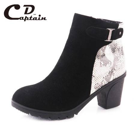 德雷克船长品牌正品 牛绒蛇皮拼接 高跟 高帮女鞋K898