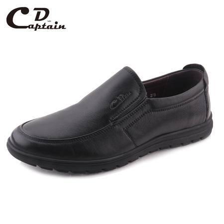 德雷克船长品牌正品 特大码套脚款商务舒适软皮商务休闲真皮皮鞋80122