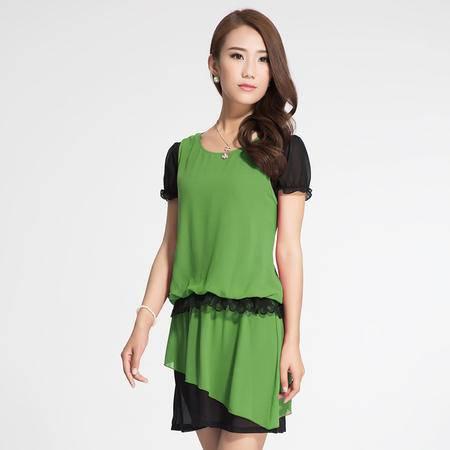 琳丹乐春夏季新款 大码女装韩版撞色拼接修身显瘦气质连衣裙